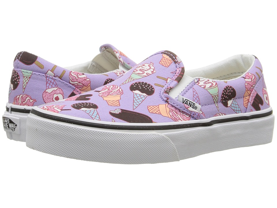 Vans Kids - Classic Slip-On (Little Kid/Big Kid) ((Glitter Ice Cream) Lavender/True White) Girls Shoes