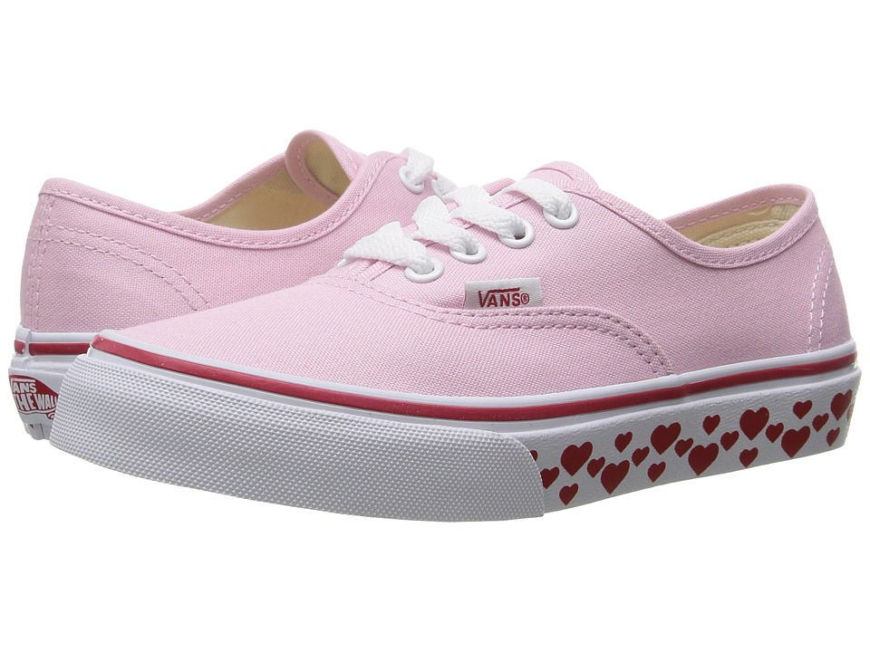 Vans Kids - Authentic (Little Kid/Big Kid) ((Hearts Tape) Pink Lady/Red) Girls Shoes