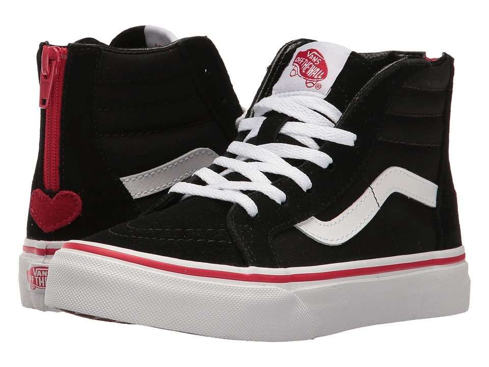 Vans Kids - Sk8-Hi Zip (Little Kid/Big Kid) ((Valentines) Black/Racing Red) Girls Shoes
