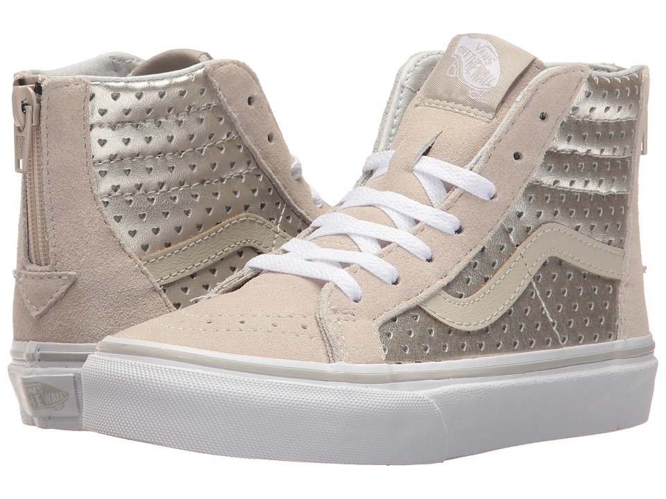Vans Kids - Sk8-Hi Zip (Little Kid/Big Kid) ((Metallic Heart Perf) Silver) Girls Shoes