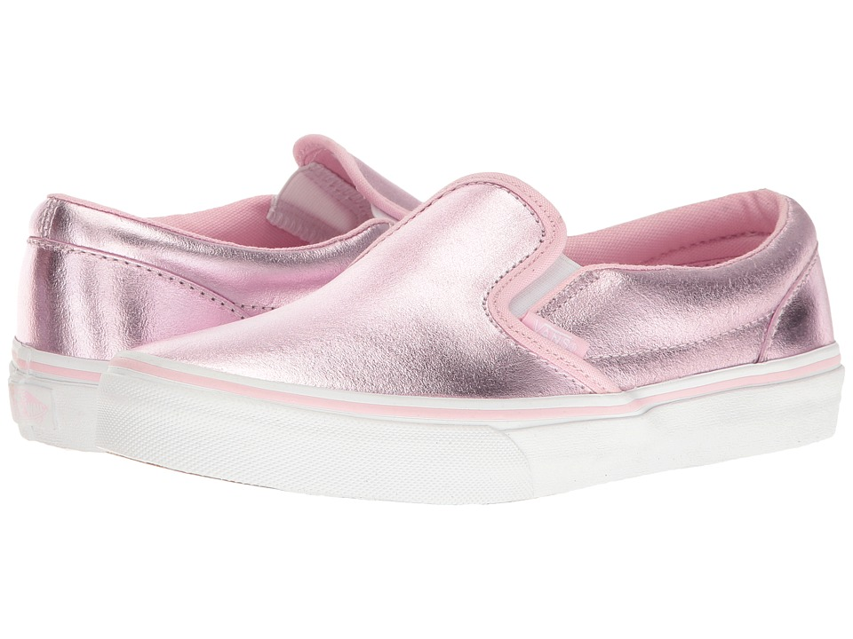 Vans Kids - Classic Slip-On (Little Kid/Big Kid) ((Metallic) Pink/True White) Girls Shoes