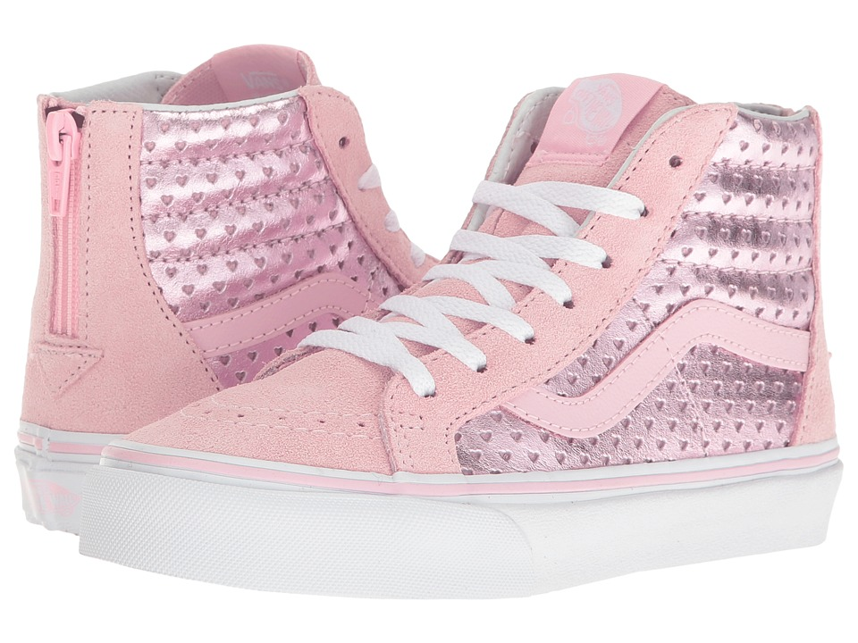 Vans Kids - Sk8-Hi Zip (Little Kid/Big Kid) ((Metallic Heart Perf) Pink Mist) Girls Shoes