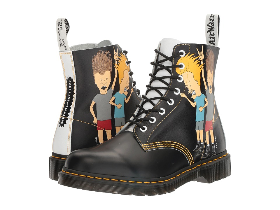 Dr. Martens - Beavis and Butt-Head Pascal (Black/White B&B Smooth/Backhand) Boots