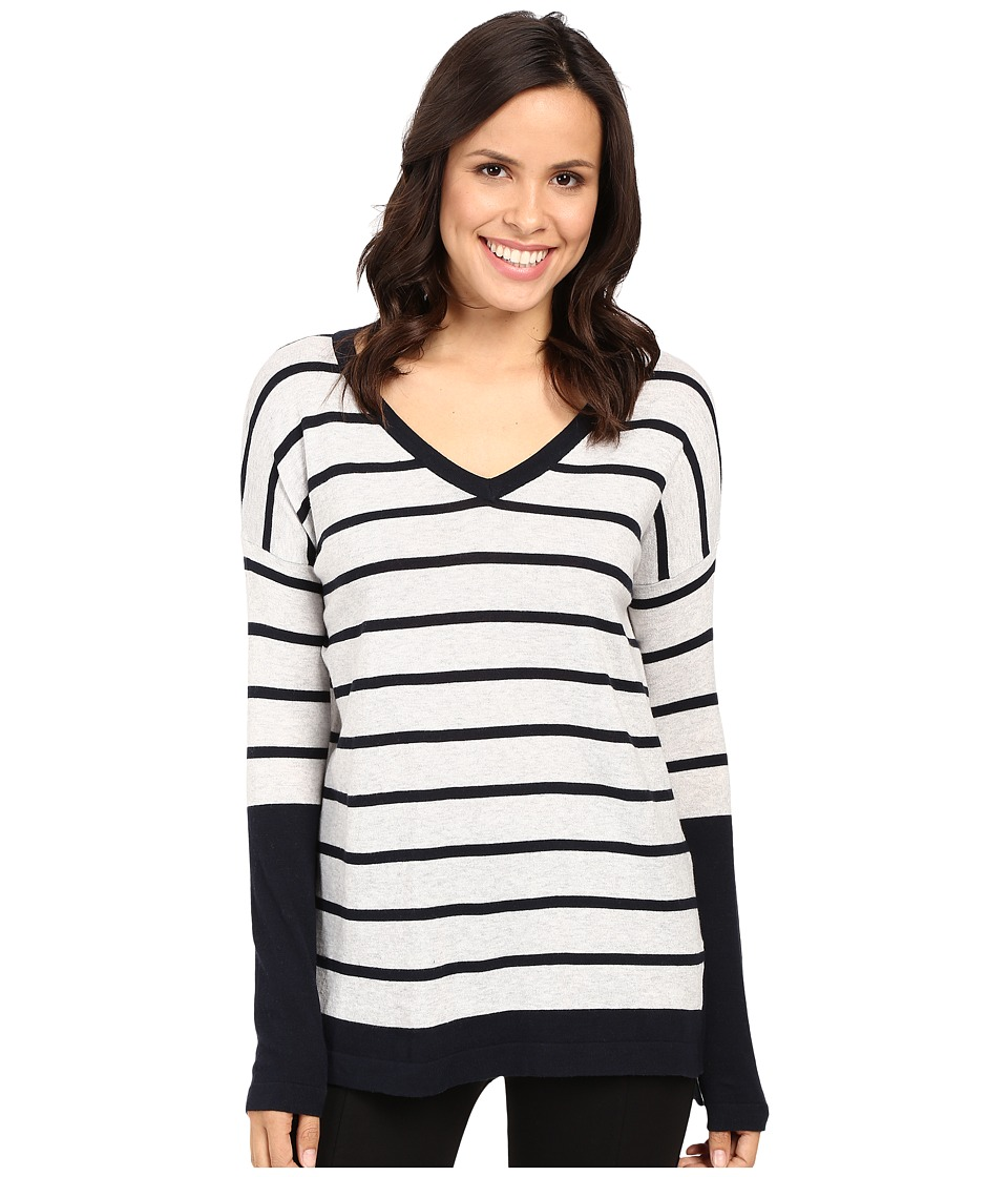 Fate - Long Sleeve Stripe V Knit (Grey/Navy) Women's Long Sleeve Pullover
