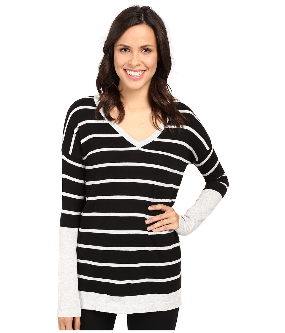 Fate - Long Sleeve Stripe V Knit (Black/Grey) Women's Long Sleeve Pullover