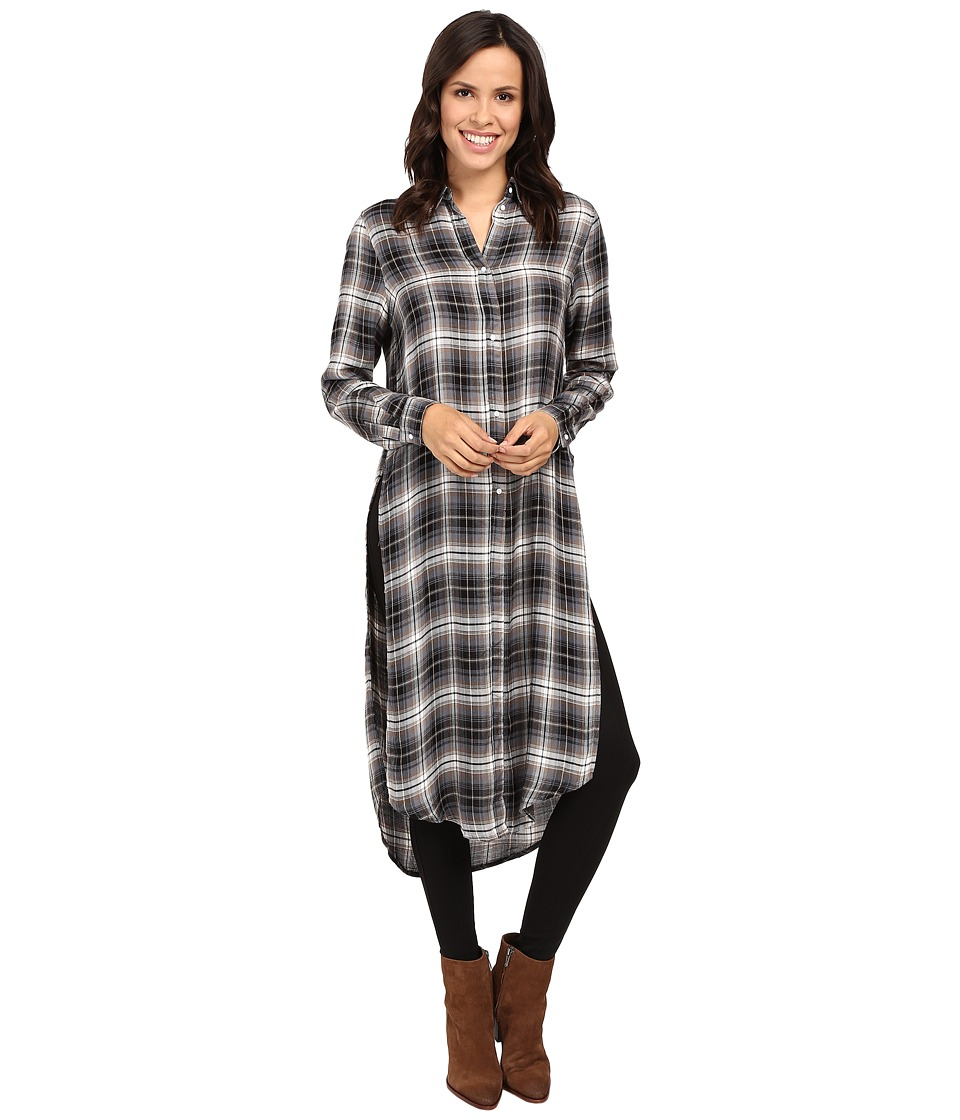 Fate - Plaid Maxi Shirt (Olive) Women's Clothing