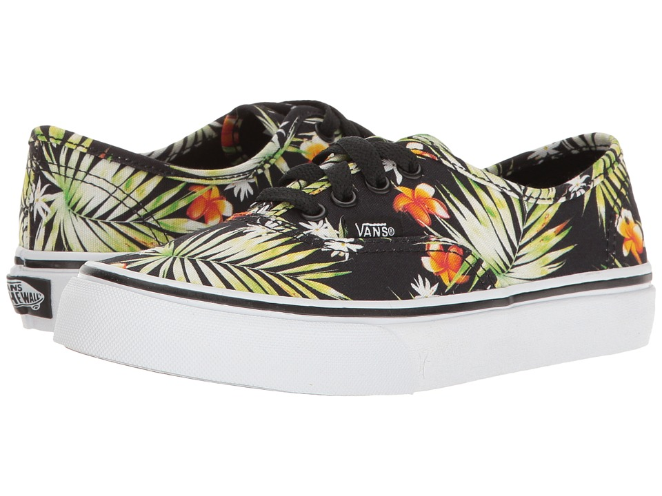 Vans Kids - Authentic (Little Kid/Big Kid) ((Decay Palms) Black/True White) Girls Shoes