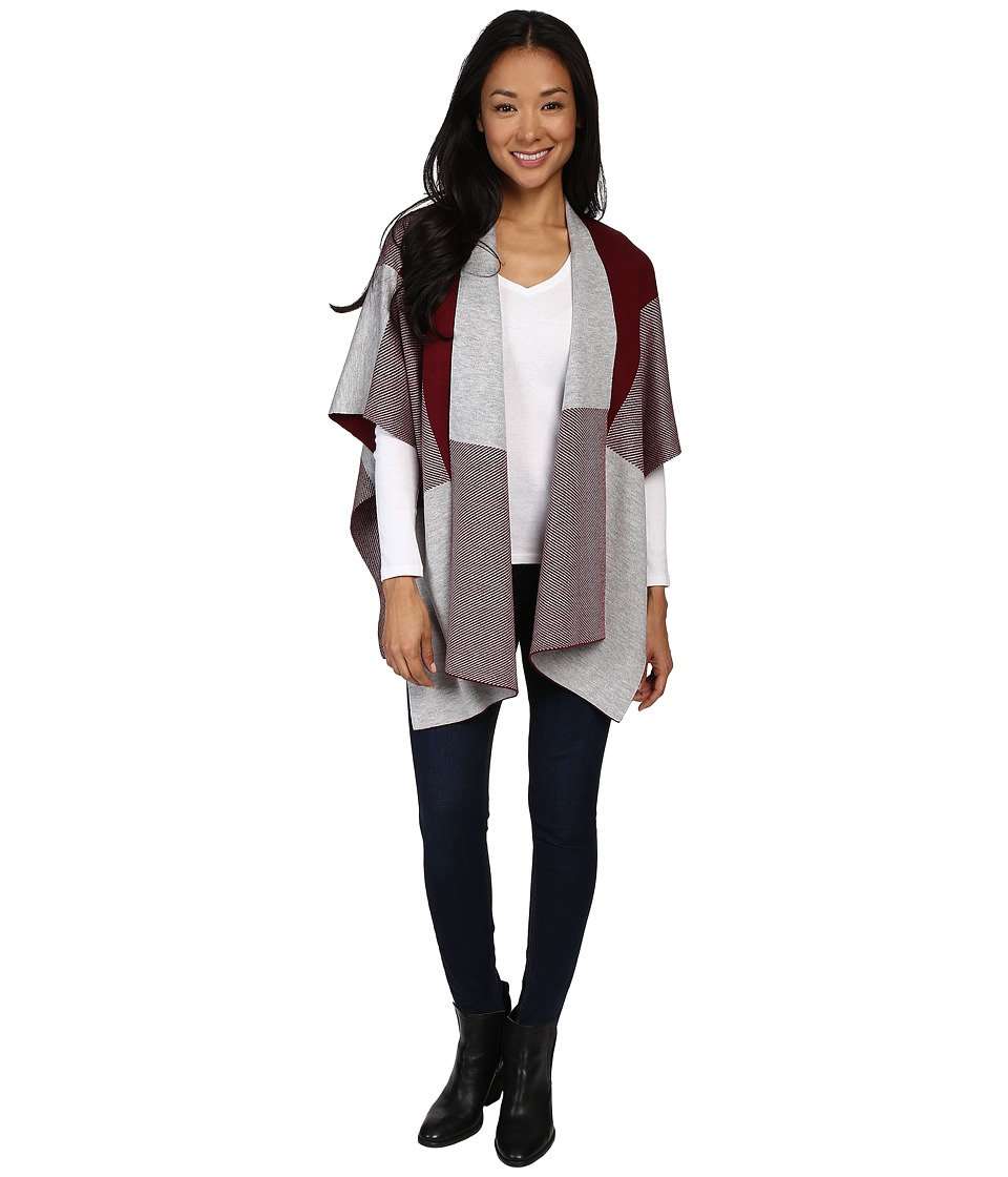 Fate - Poncho (Wine/Grey) Women's Clothing