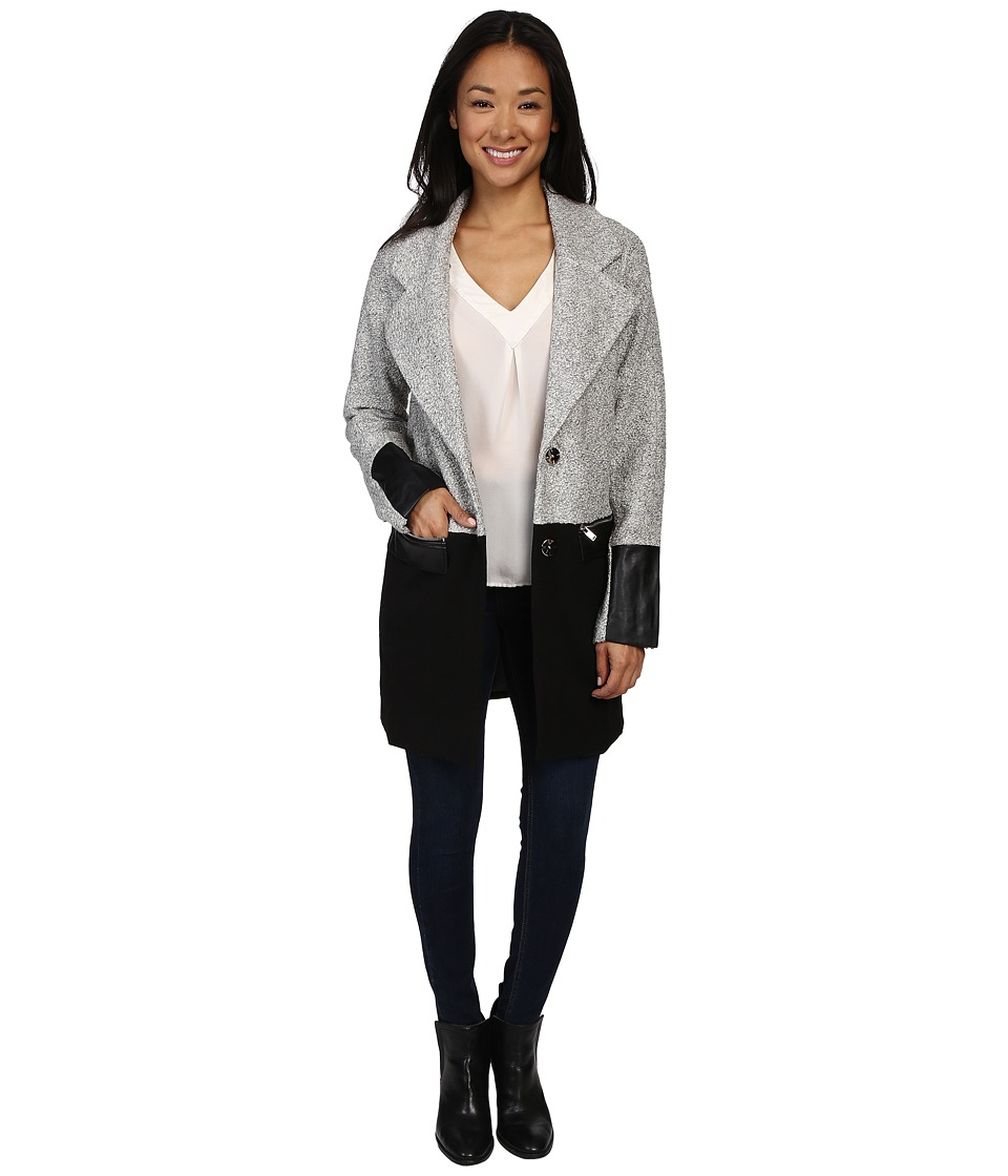 Fate - Long Color Block Blazer (Grey) Women's Coat