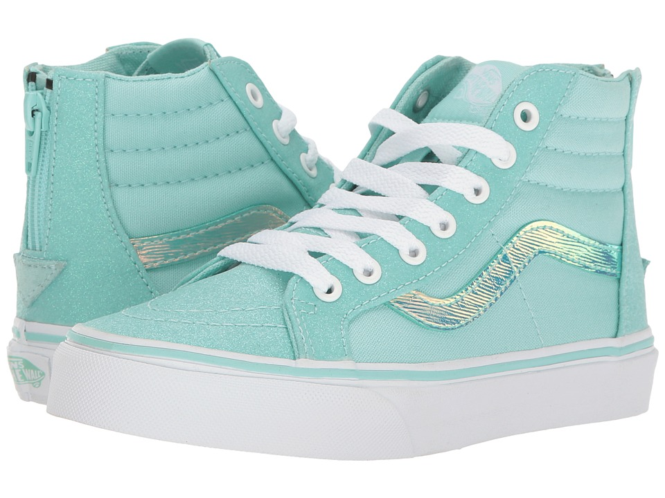 Vans Kids - Sk8-Hi Zip (Little Kid/Big Kid) ((Glitter & Iridescent) Blue/True White) Girls Shoes