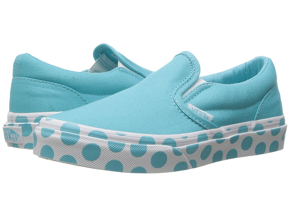 Vans Kids - Classic Slip-On (Little Kid/Big Kid) ((Polka Dot) Blue Radiance/True White) Girls Shoes