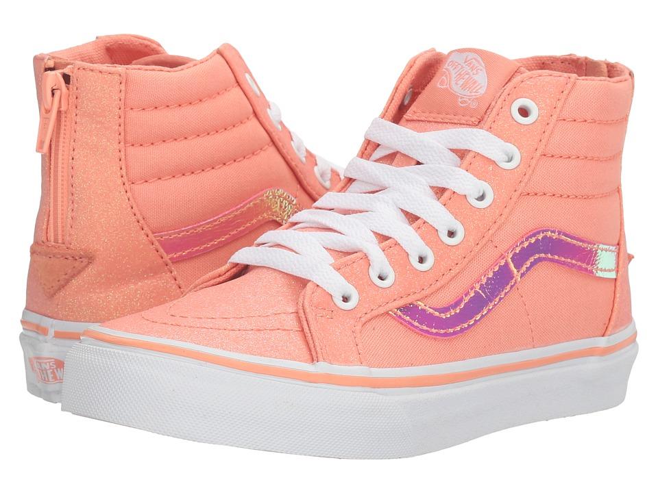 Vans Kids - Sk8-Hi Zip (Little Kid/Big Kid) ((Glitter & Iridescent) Coral/True White) Girls Shoes