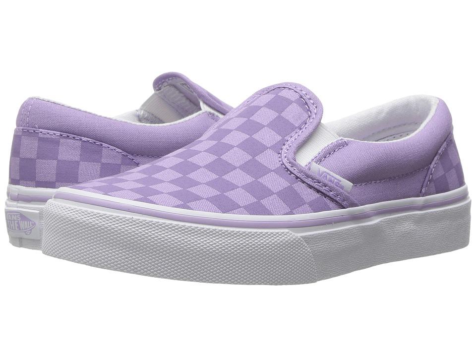 Vans Kids - Classic Slip-On (Little Kid/Big Kid) ((Tonal Check) Lavender) Girls Shoes