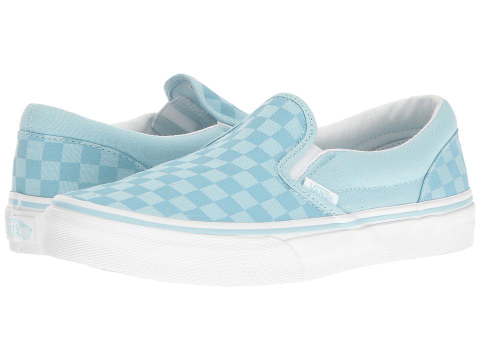 Vans Kids Classic Slip-On (Little Kid/Big Kid) ((Tonal Check) Crystal Blue) Girls Shoes
