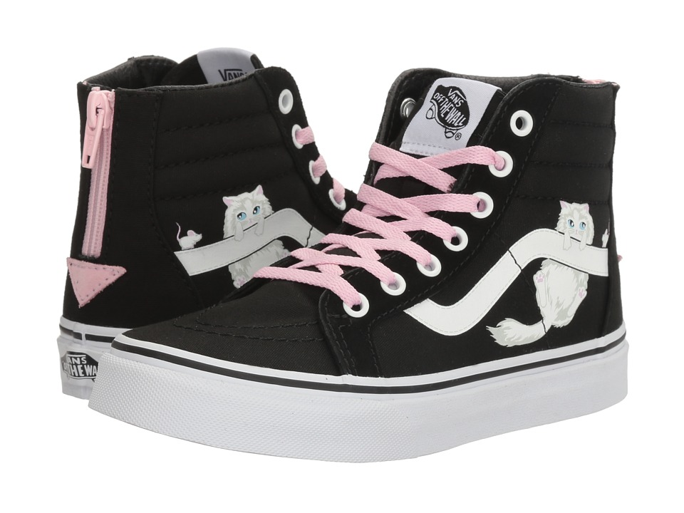 Vans Kids - Sk8-Hi Zip (Little Kid/Big Kid) ((Hidden Kittens) Black/True White) Girls Shoes