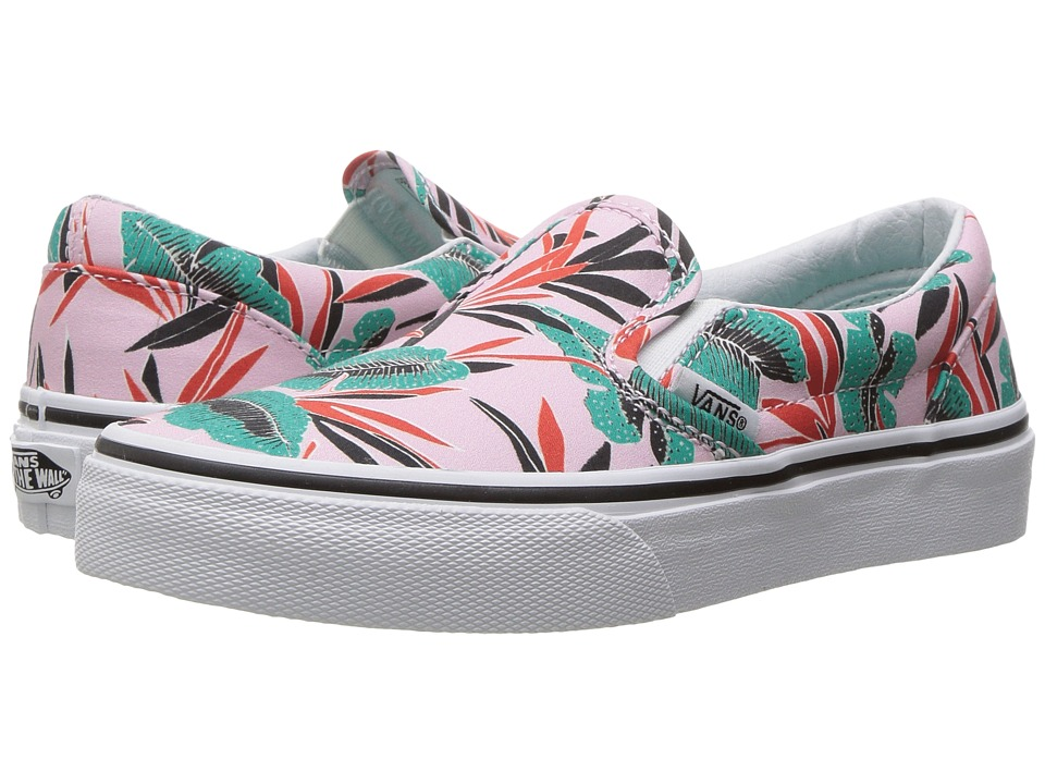 Vans Kids - Classic Slip-On (Little Kid/Big Kid) ((Tropical Leaves) Pink Lady) Girls Shoes