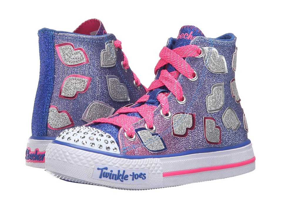 SKECHERS KIDS - Shuffles - Lil Smooches (Little Kid/Big Kid) (Blue/Hot Pink) Girl's Shoes