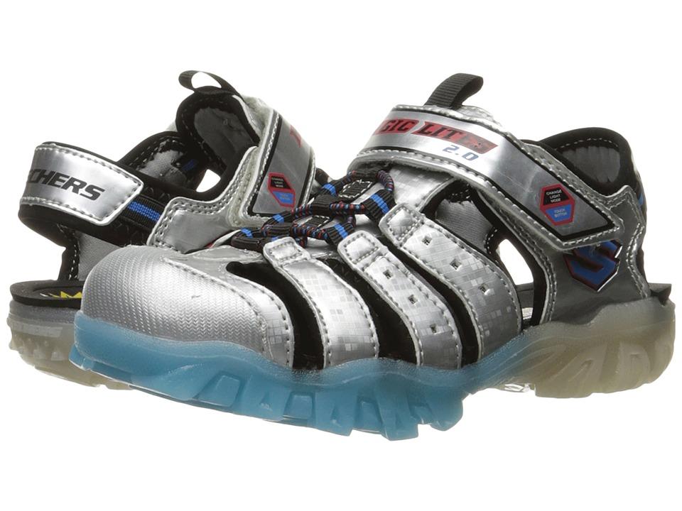 SKECHERS KIDS - Magic Lites Sandal (Little Kid/Big Kid) (Silver/Blue) Boys Shoes
