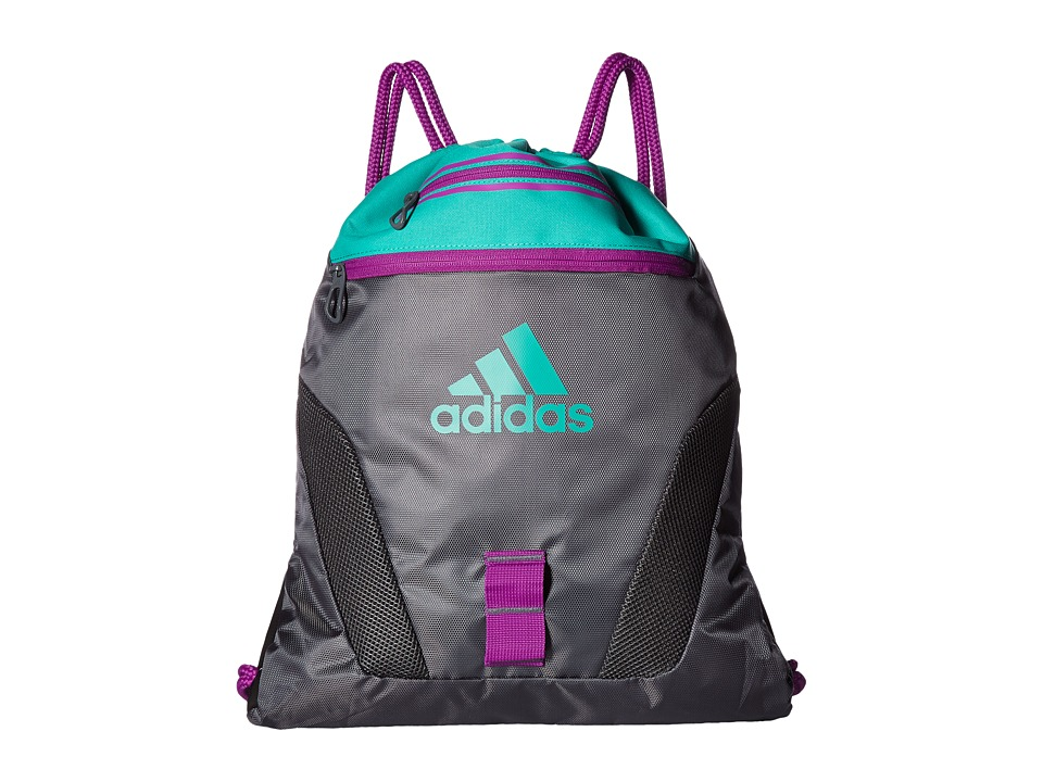 adidas - Rumble Sackpack (Onix/Shock Purple/Shock Mint) Bags