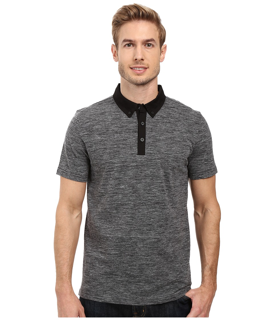 Kenneth Cole Sportswear - Short Sleeve Space Dye Polo (Charcoal Heather) Men's Clothing