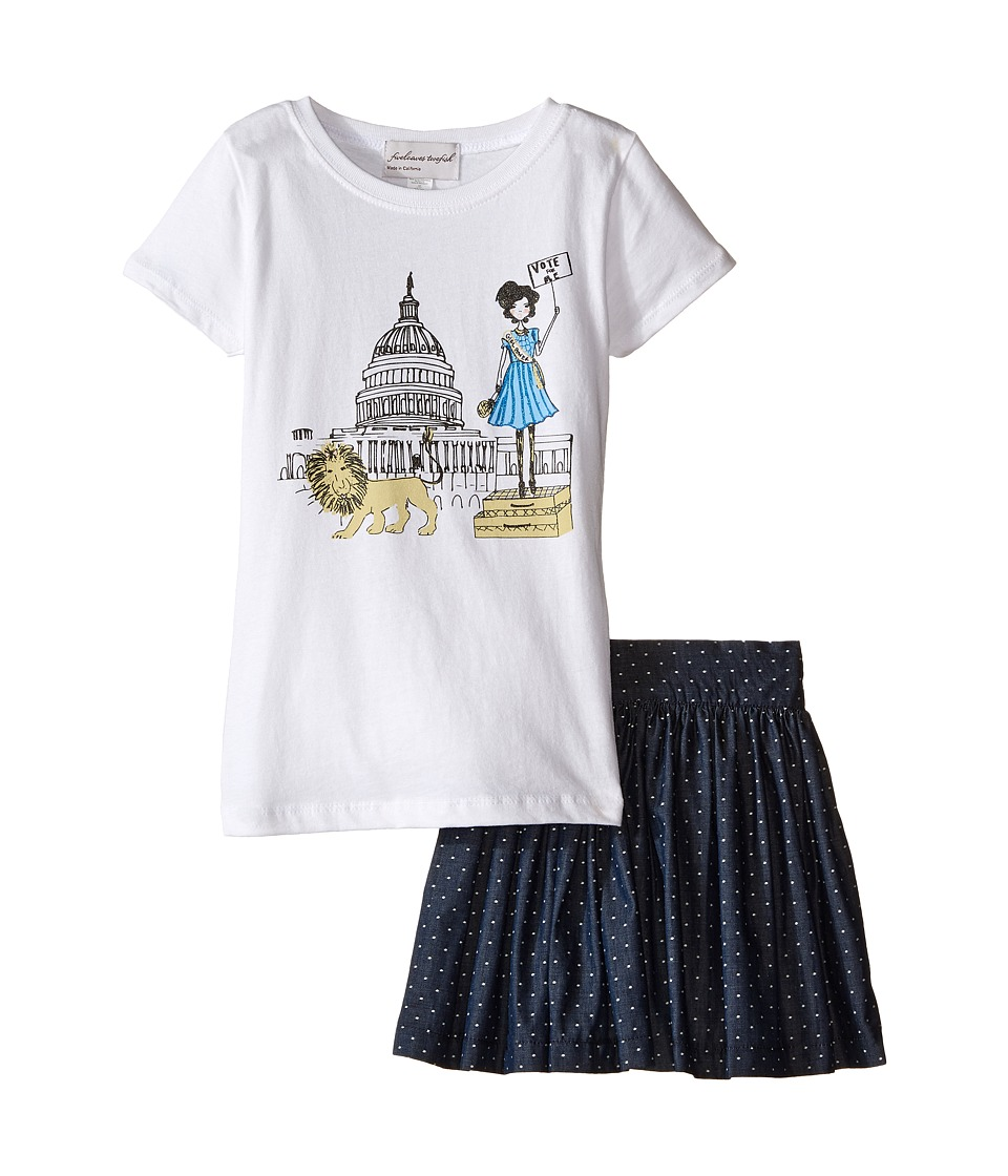 fiveloaves twofish - Hear Her Roar Set w/ Denim Skirt (Little Kids/Big Kids) (White/Navy) Girl's Active Sets