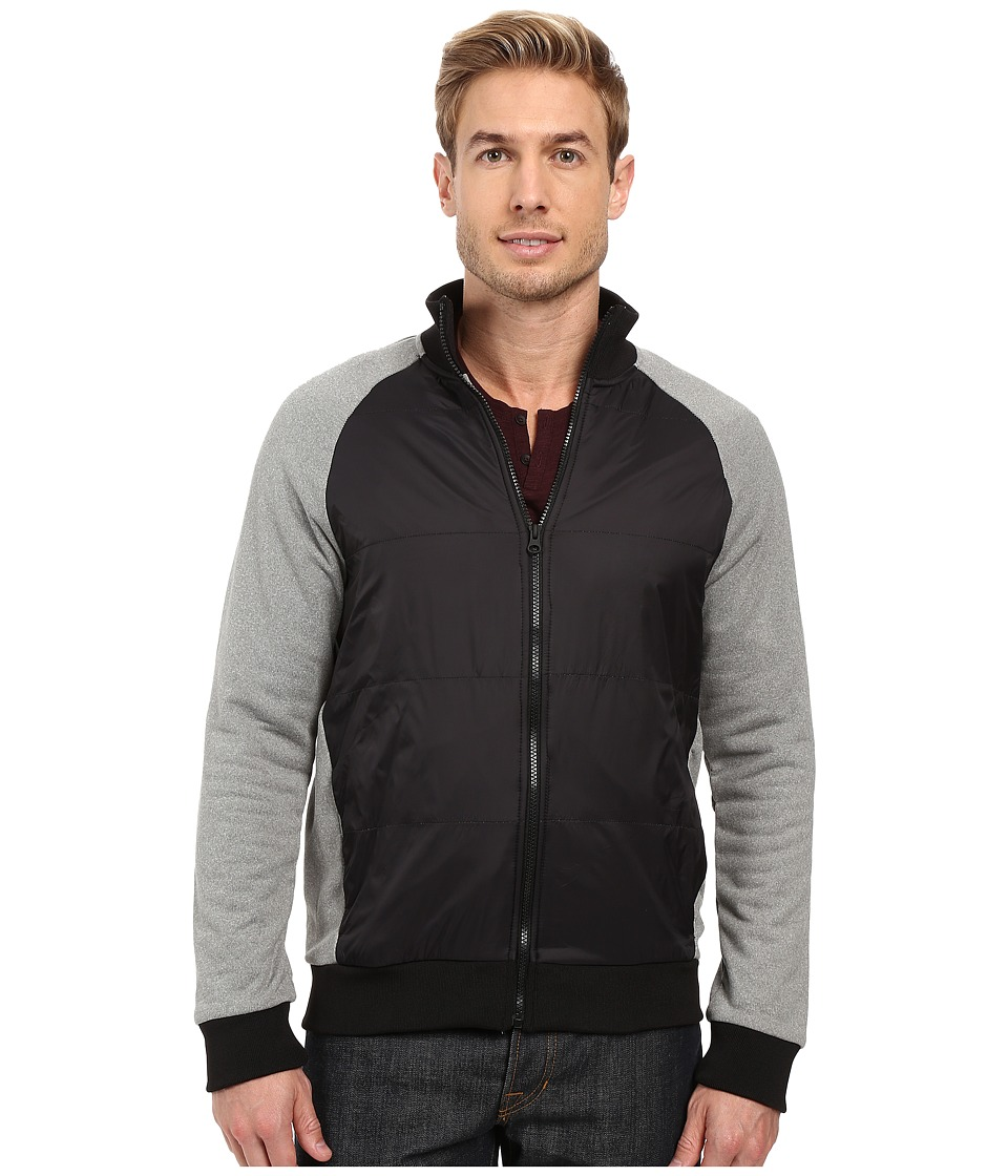 Kenneth Cole Sportswear - Full Zip w/ Nylon Quilted Front (Heather Grey) Men's Coat