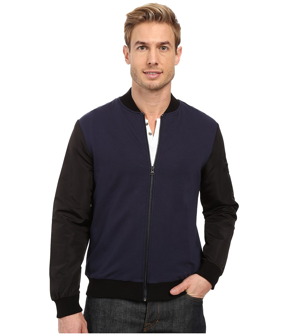 Kenneth Cole Sportswear - Knit Bomber w/ Nylon Sleeves (Indigo) Men's Coat