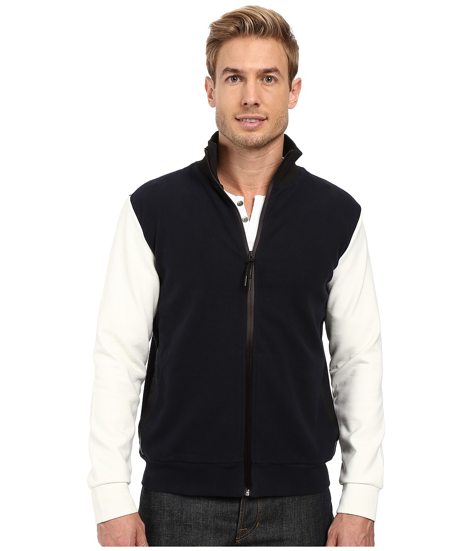 Kenneth Cole Sportswear - Full Zip Mock Neck w/ Felt Trim (Indigo) Men's Coat