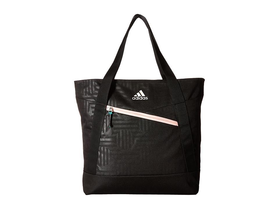 adidas - Squad III Tote (Black Dot Punch Emboss/Black/Haze Coral/Reflective) Tote Handbags