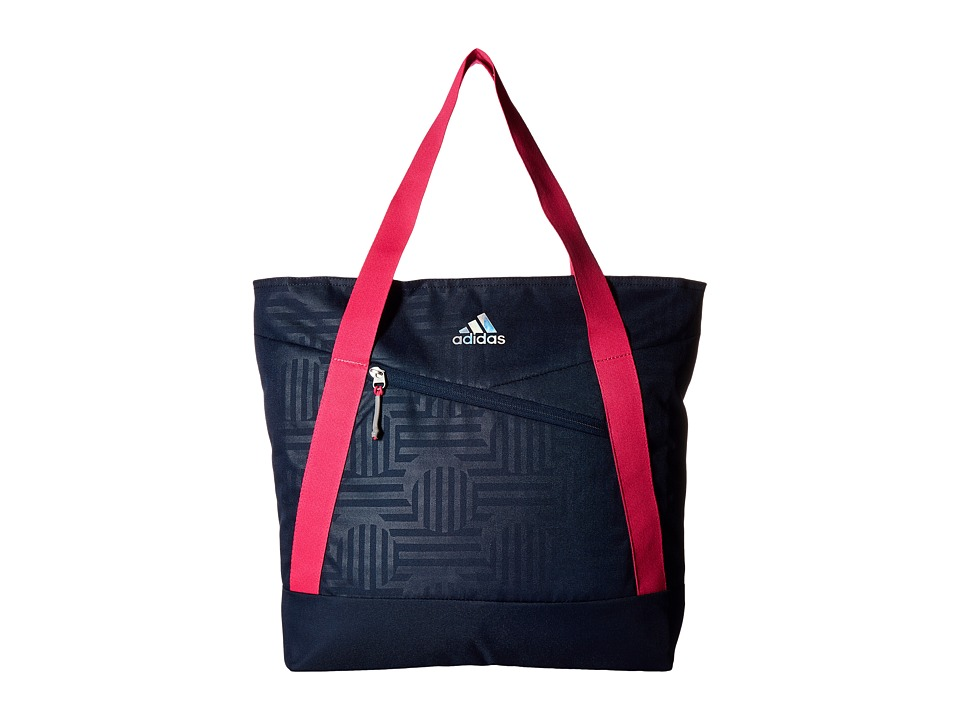 adidas - Squad III Tote (Collegiate Navy Dot Punch Emboss/Collegiate Navy/Shock Pink/Refl) Tote Handbags