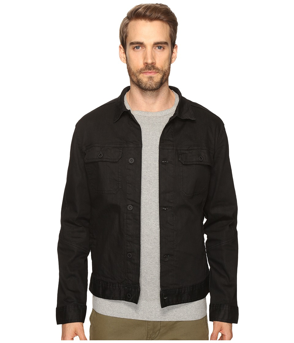Kenneth Cole Sportswear - Washed Coated Denim Jacket (Black) Men's Coat