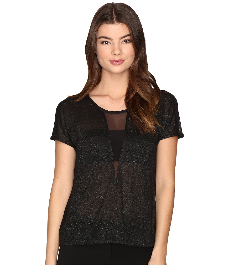 ONLY - Dina Short Sleeve Top (Black/Black) Women's Clothing