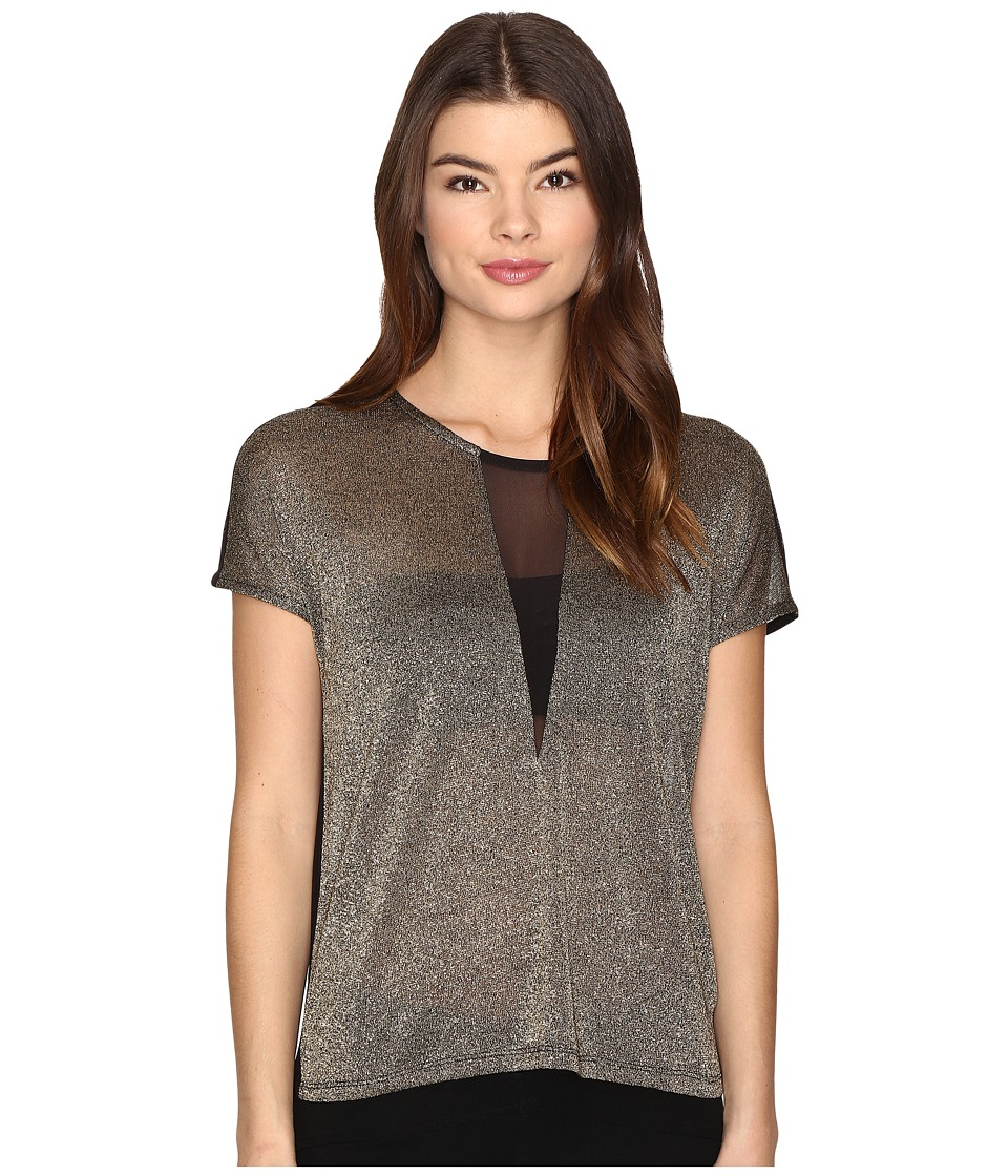 ONLY - Dina Short Sleeve Top (Black/Gold) Women's Clothing