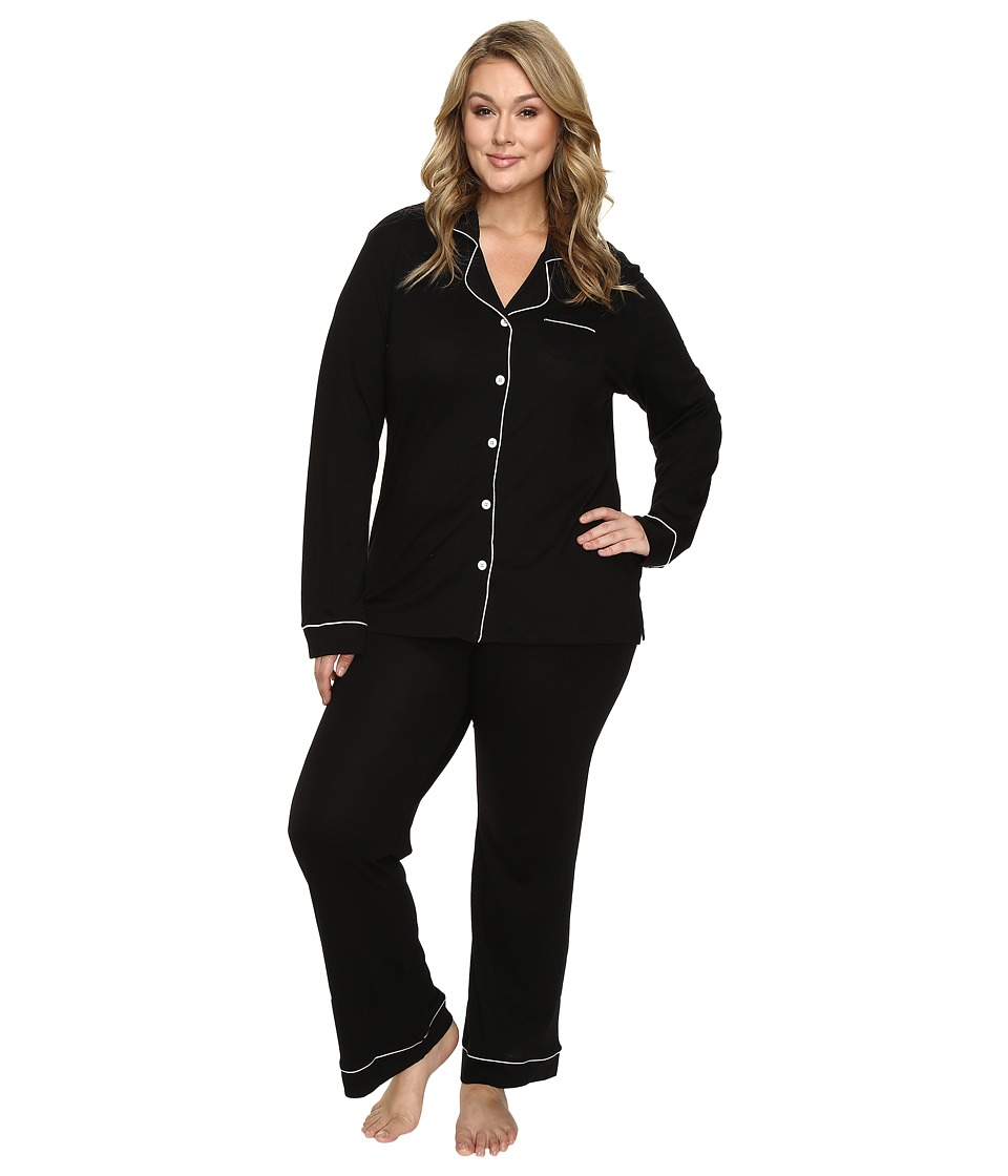 Cosabella - Plus Size Bella PJ Long Sleeve Top and Pants PJ Set (Black/Ivory) Women's Pajama Sets