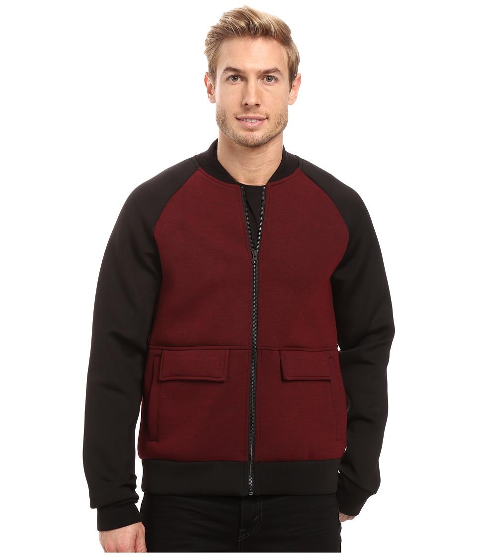 Kenneth Cole Sportswear - Color Block Bomber (Malbec) Men's Coat