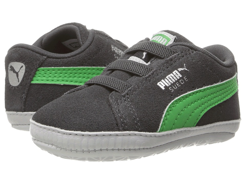 Puma Kids - Suede Crib (Infant/Toddler) (Asphalt/Andean Toucan) Boy's Shoes