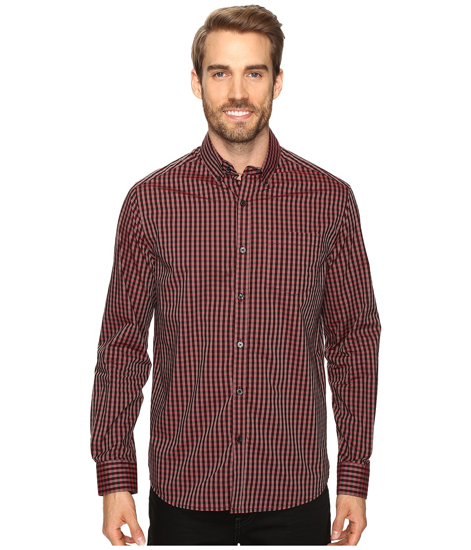 Kenneth Cole Sportswear - Long Sleeve Button Down Collar One-Pocket Gingham (Crimson Combo) Men's Long Sleeve Button Up
