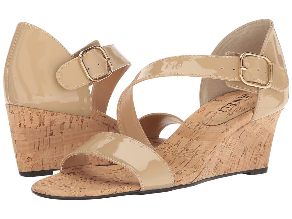 Vaneli - Marise (Ecru Patent/Gold Buckle) Women's Wedge Shoes