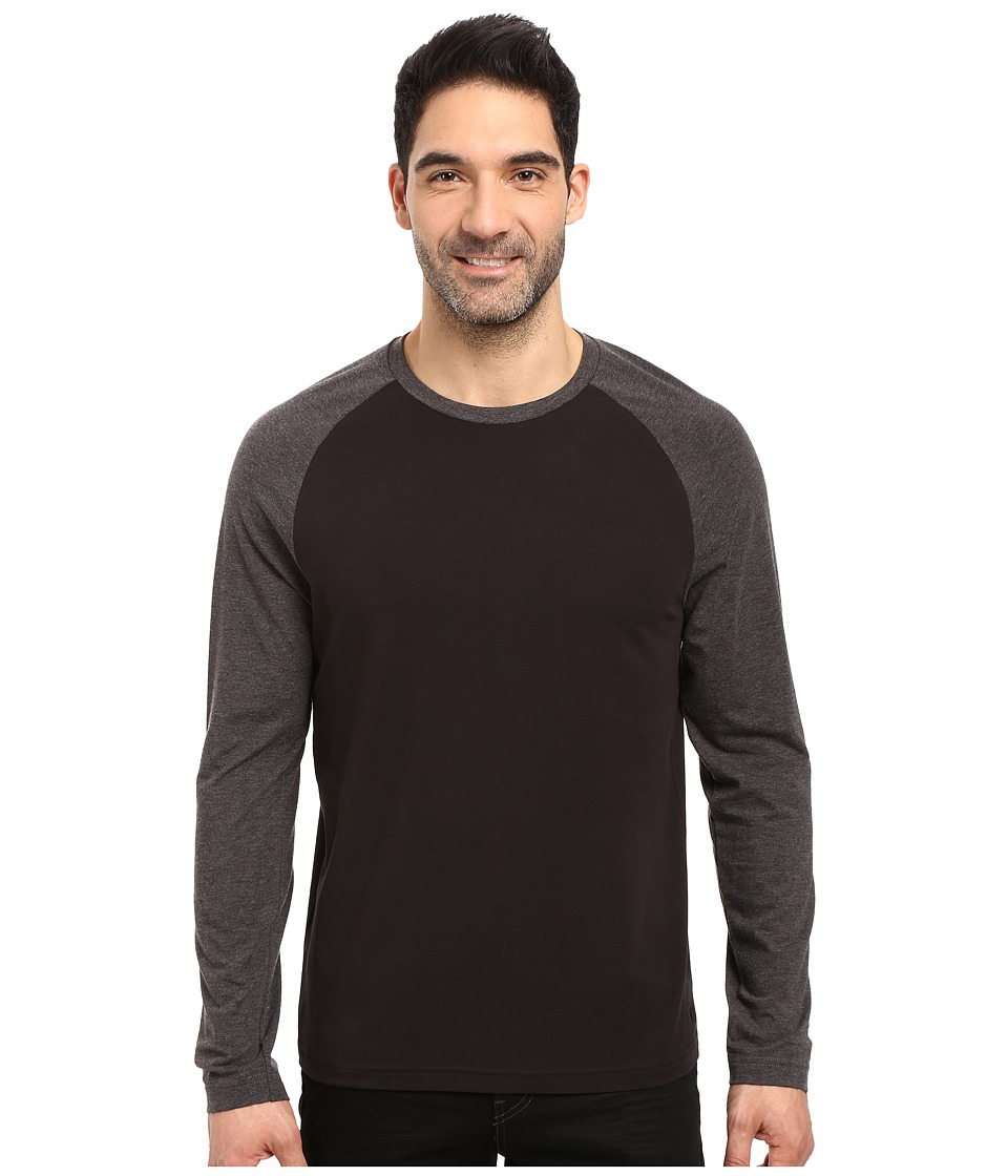 Kenneth Cole Sportswear - Cotton Tech Color Block Long Sleeve T-Shirt (Black) Men's T Shirt