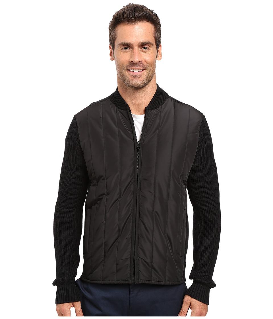 Kenneth Cole Sportswear - Nylon Quilted Moto Jacket (Black) Men's Coat