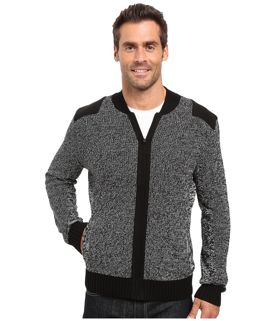 Kenneth Cole Sportswear - Marled Bomber Jacket w/ Felt (Charcoal Heather) Men's Coat