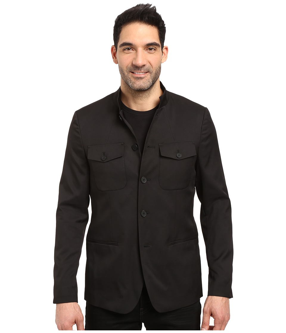 Kenneth Cole Sportswear - Five Button Military Blazer (Black) Men's Coat
