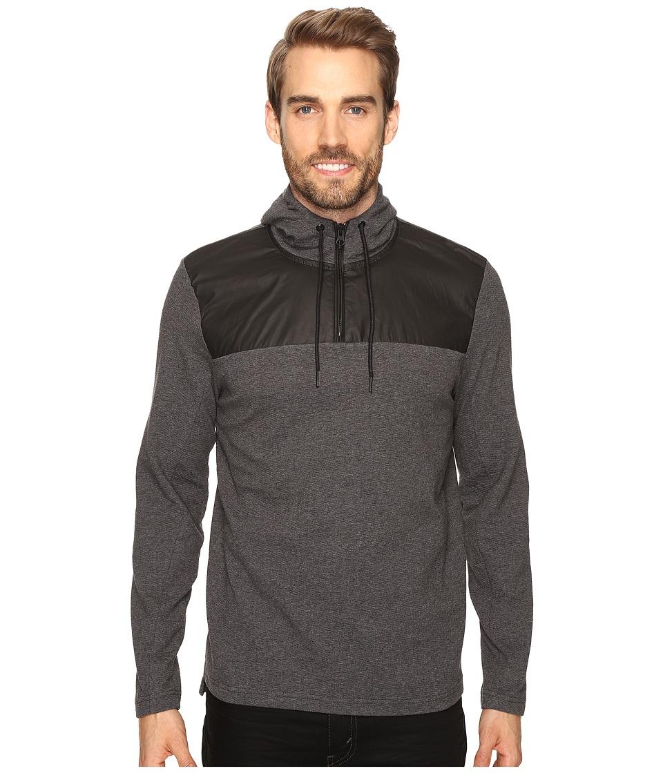 Kenneth Cole Sportswear - 1/2 Zip Hoodie with Nylon (Flannel Heather) Men's Sweatshirt