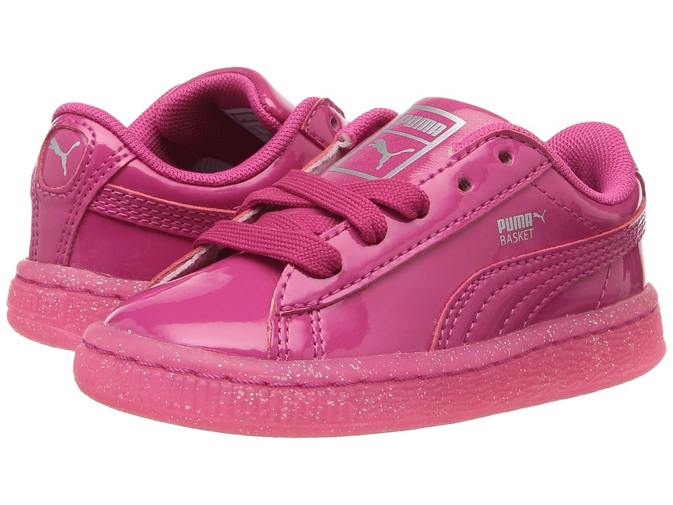 Puma Kids Basket Patent Iced Glitter INF (Toddler) (Beetroot Purple/Beetroot Purple) Girls Shoes