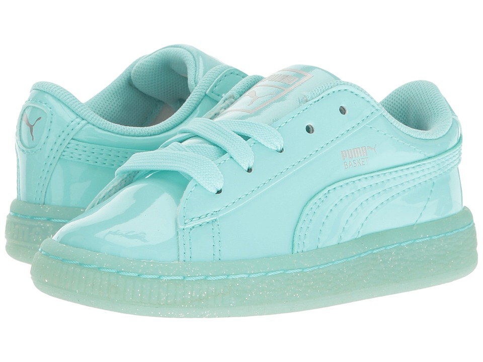 Puma Kids Basket Patent Iced Glitter INF (Toddler) (Aruba Blue/Aruba Blue) Girls Shoes