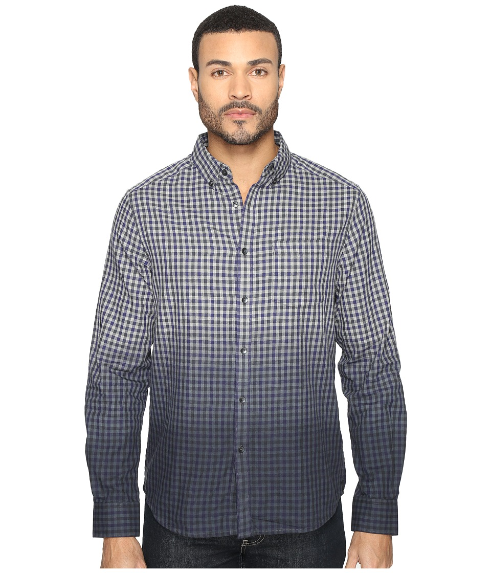 Kenneth Cole Sportswear - Long Sleeve Dip-Dye Gingham Check (Patriot Blue Combo) Men's Clothing