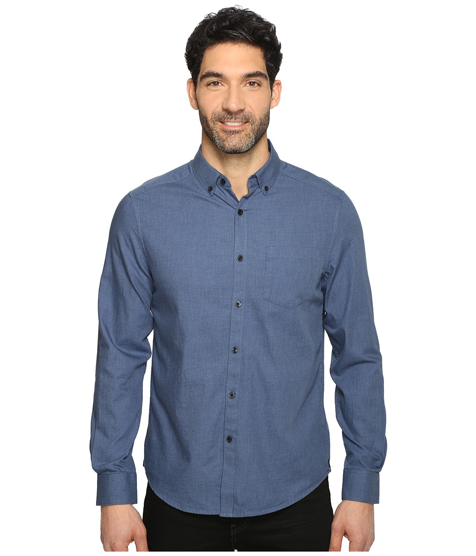 Kenneth Cole Sportswear - Long Sleeve Button Down Collar Solid Flannel (Indigo Combo) Men's Long Sleeve Button Up