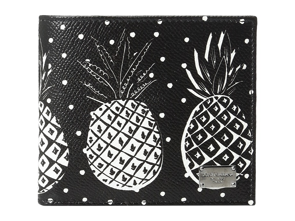 Dolce & Gabbana - Pineapple Printed Wallet (Black) Bill-fold Wallet