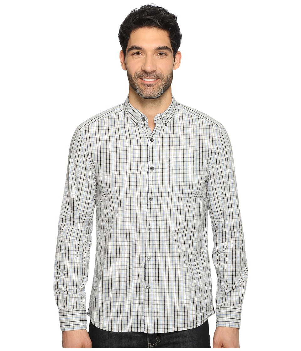 Kenneth Cole Sportswear - Long Sleeve Button Down Collar One-Pocket Check (Heather Grey Combo) Men's Long Sleeve Button Up