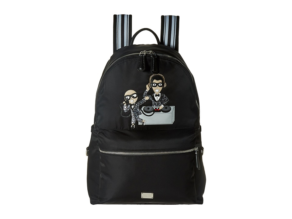Dolce & Gabbana - Nylon Embroidered Backpack (Black) Backpack Bags